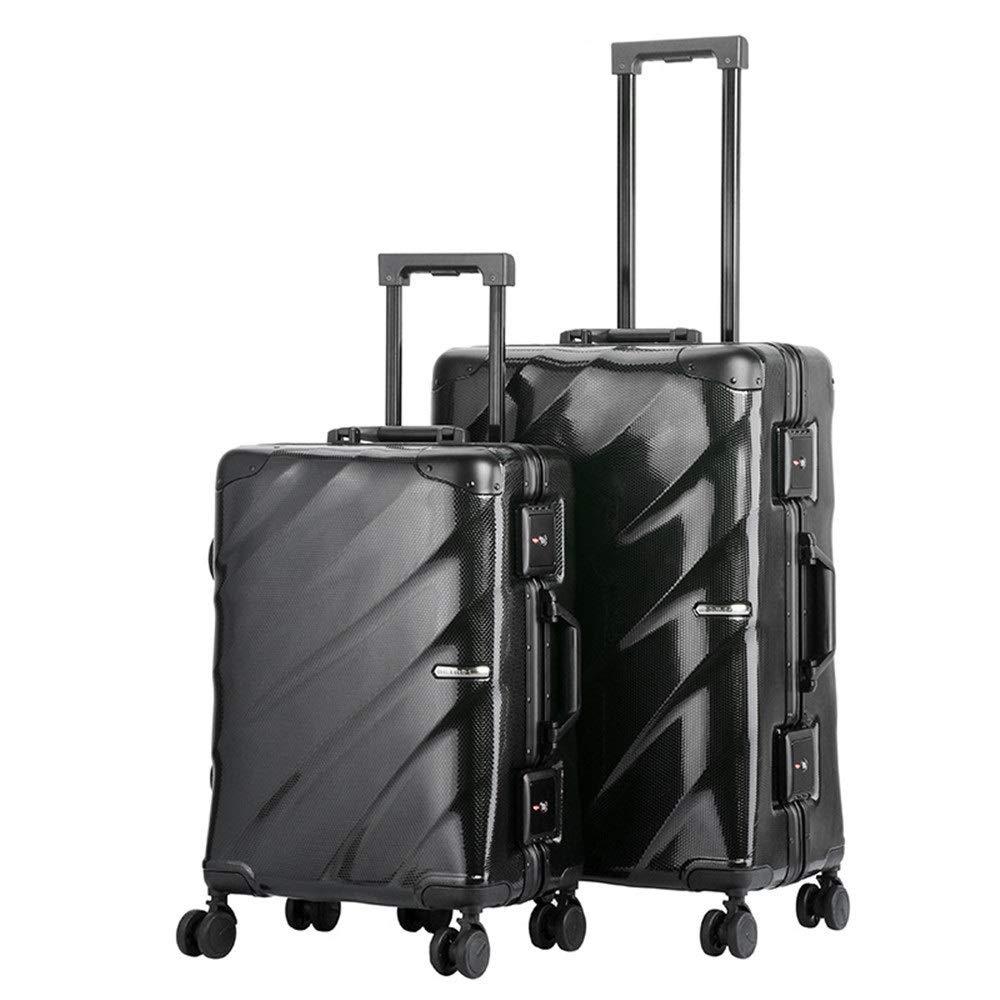 荷物ケース, スーツケース, 防水20インチ24インチ荷物2個セットTSAロック付きスーツケーススピナーハードシェル軽量ネストセットキャリーオンアップライトスーツケース360°サイレントスピナー多方向ホイール(男性用)女性旅行飛行機フライト&チェックイン 荷物エアボックススーツケース (色 : ブラック, サイズ : 20in+24in) B07SNC7QTM ブラック 20in+24in