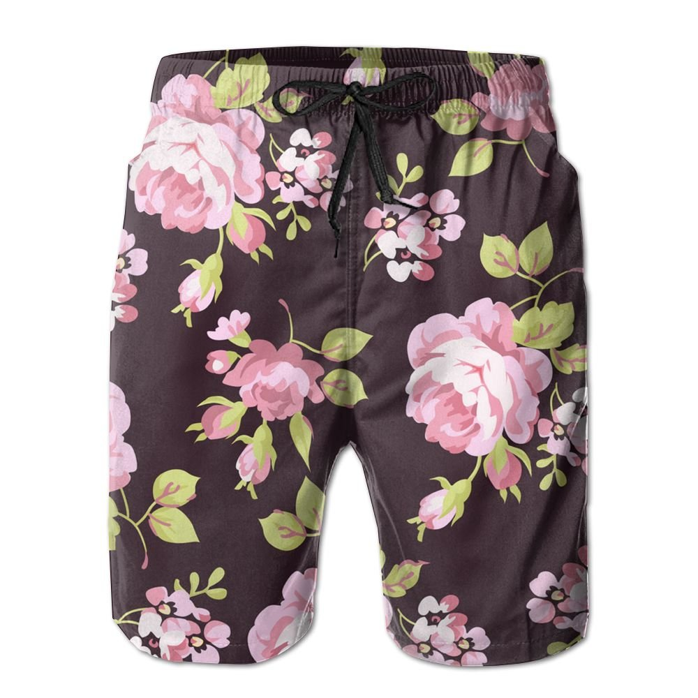 Mens Retro Yellow and Pink Roses Breathable Beach Board Shorts Swim Trunks Quick Dry