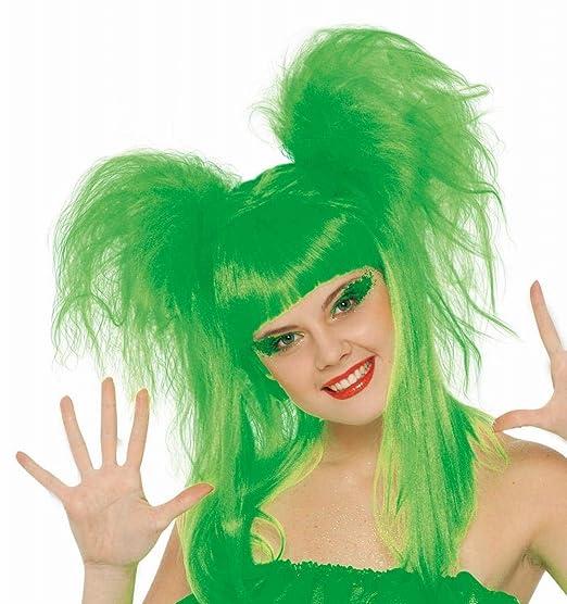 Peluca Rockera con coletas verde