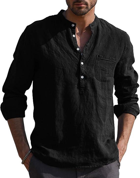 SHOWNO Mens Plus Size Retro Solid Color Long Sleeve Cotton Linen Shirt
