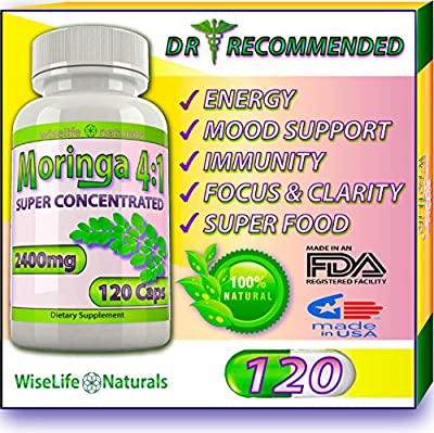 MORINGA OLEIFERA 4:1 120ct Energy Focus Weight Loss Brain Mood Memory Max Strength Pill Pure Whole Super Food Immune Booster Anti Aging Diet Supplement Senior Tree Leaf Powder Extract 2400mg Capsules