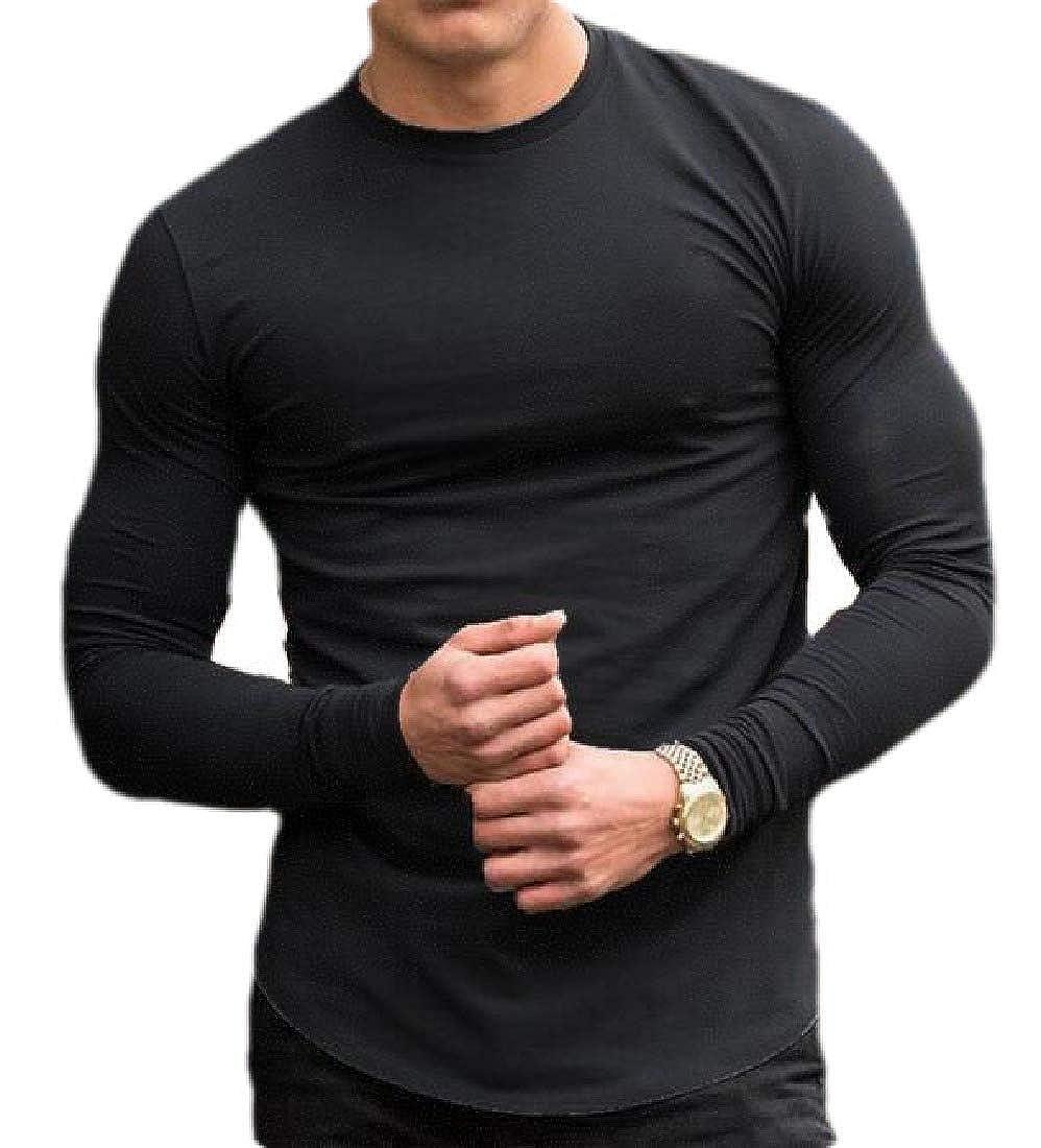 Joe Wenko Mens Tees Solid Long Sleeve Crewneck Suit Casual T-Shirt
