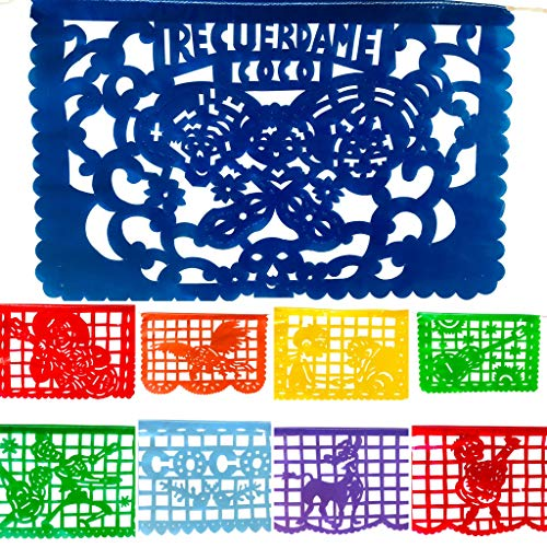 TexMex FunStuff Coco Inspired Party Supplies Plastic Banner Decorations, Mexican Fiesta Papel Picado Decor for All Celebrations 2 Pack, 32 Feet]()