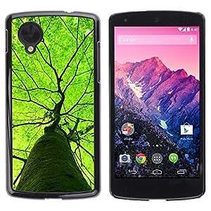 FECELL CITY // Duro Aluminio Pegatina PC Caso decorativo Funda Carcasa de Protección para LG Google Nexus 5 D820 D821 // Green Tree Summer Nature Spring