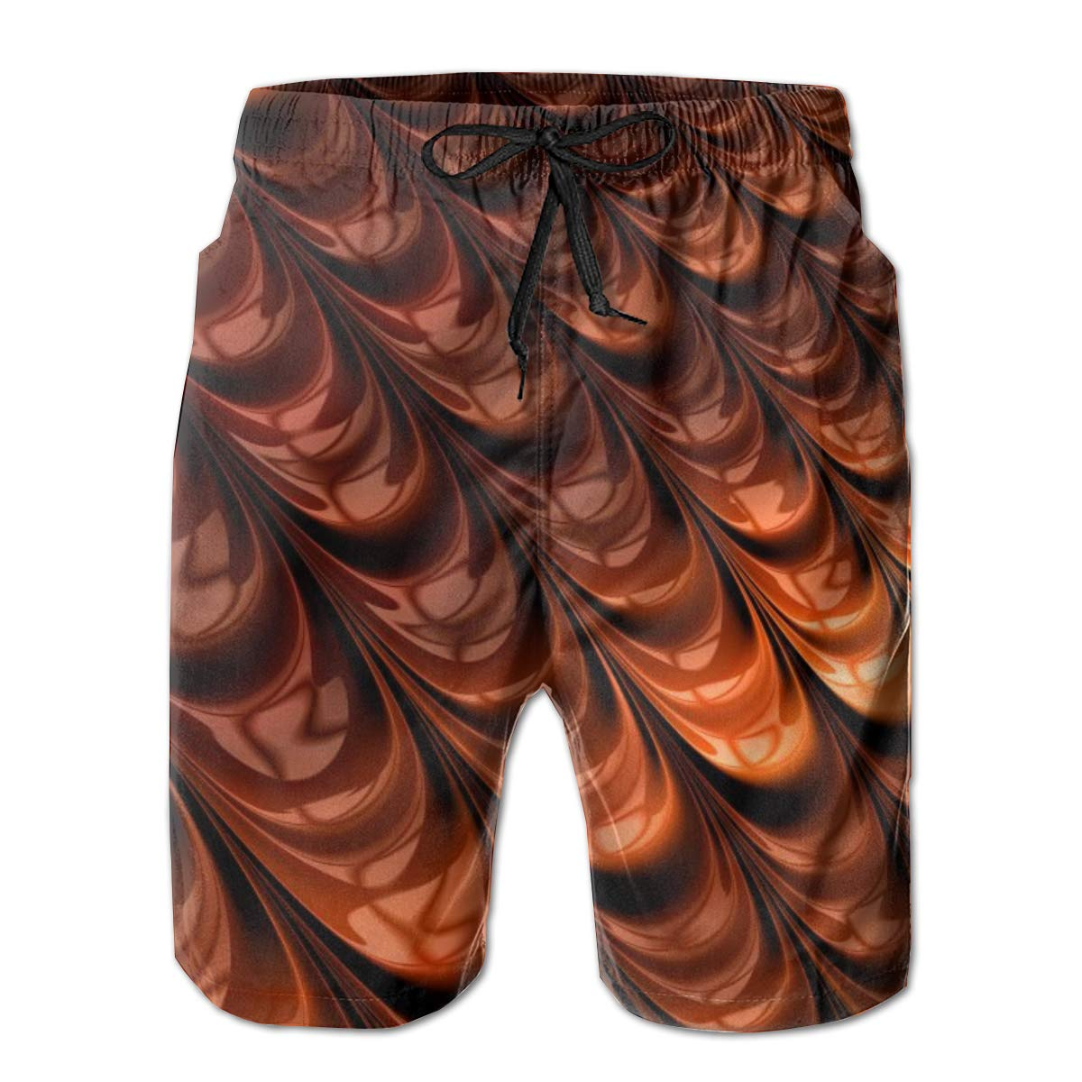 Leisue Brown Patterns Shapes Surface Quick Dry Elastic Lace Boardshorts Beach Shorts Pants Swim Trunks Mens Swimsuit with Pockets