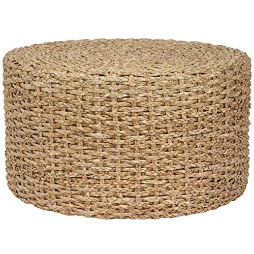 Contemporary Round Ottoman (Contemporary Round Hand Knotted Rush Grass Ottoman Coffee Table - Includes Modhaus Living Pen (Natural))
