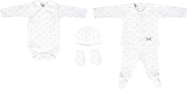 BABIDU 535 Pack Nacim Anclas Conjuntos de Pijama, Azul (Marino 001), 56 (Tamaño del Fabricante:1) Unisex bebé