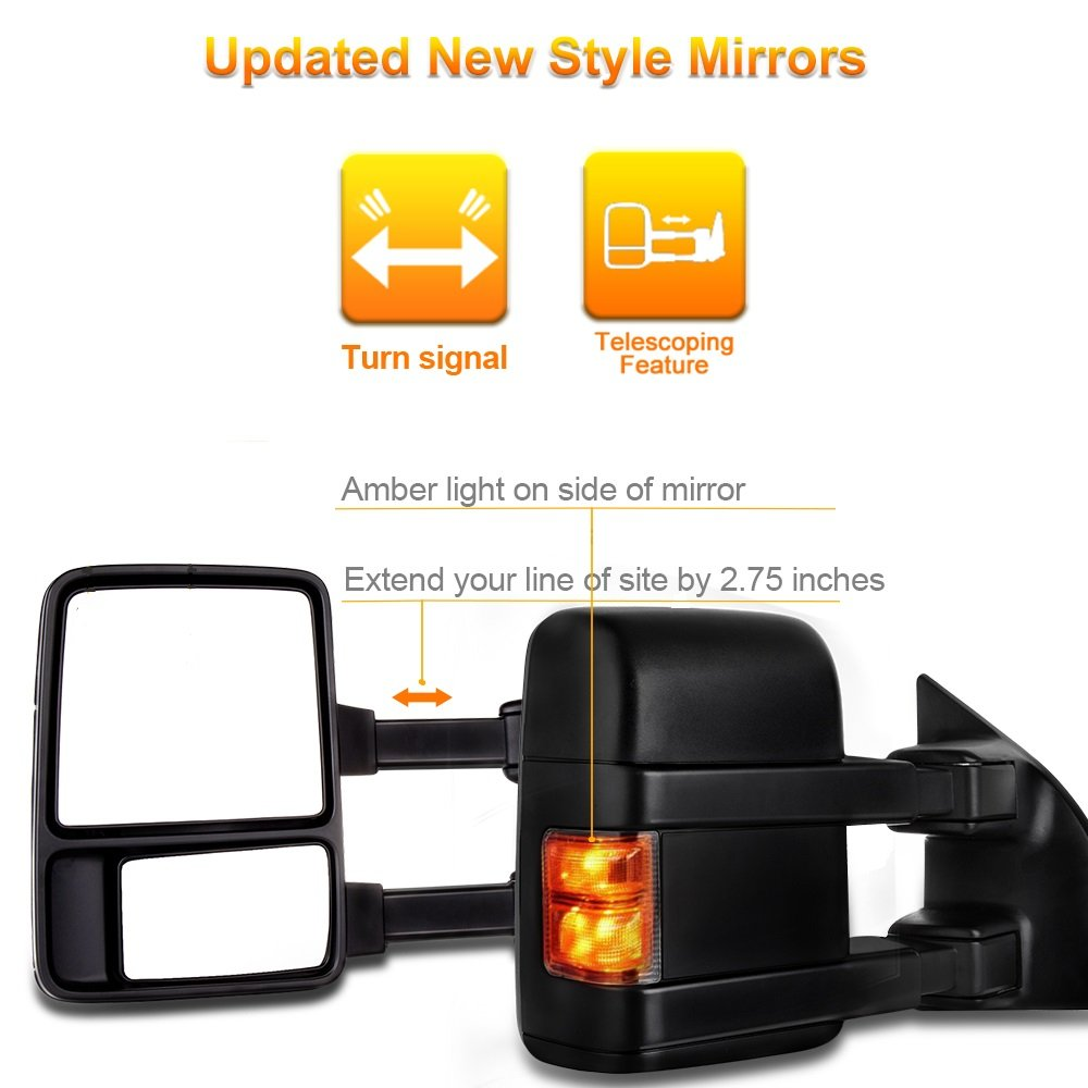 SCITOO Towing Mirrors fit 2003-2007 Ford F250 F350 F450 F550 Super Duty 2003-2005 Ford Excursion Manual Led Smoke Turn Signals Pair Mirrors