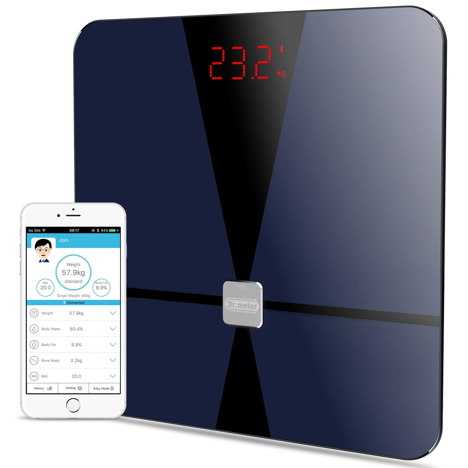BMI Digital Bluetooth Body Fat Scale, Dr.meter Smart Bathroom Weight Scale Body Composition Analyzer Health Monitor with iOS and Android App, Sensitive ITO Conductive Tempered Glass Surface-Black by Dr.meter