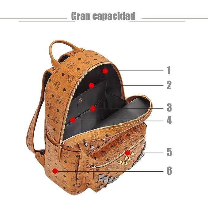 Mochilas MCM, Visetos M Fuertes - Mochila Remache Trio Cognac: Amazon.es: Equipaje