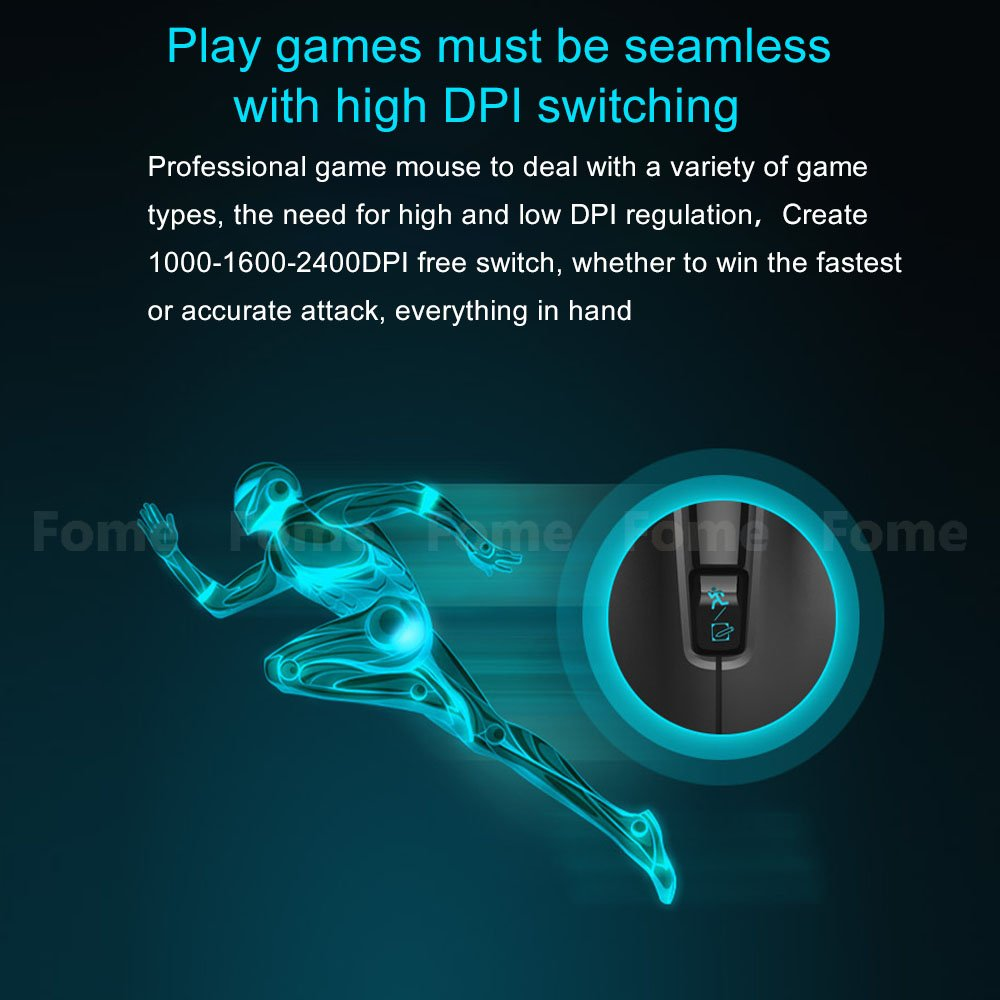 Wireless Gaming Mouse,FOME I720 Ergonomic Right-handed Design Noiseless Buttons Precise positing Optical Wireless Gaming Mouse DPI 1000/1600/2400 with Windows MAC Black? by FOME (Image #6)