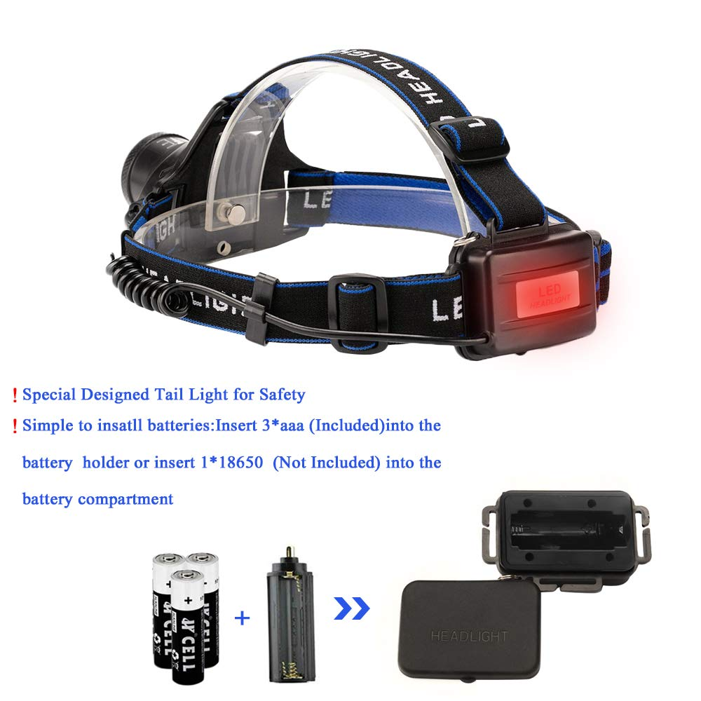 Miuree Red and White 4 Mode Light with Adjustable and Comfortable Headband Dust and Waterproof LED Headlamp,Super Rugged Light-Weight and Bright LED Headlight 2 pack