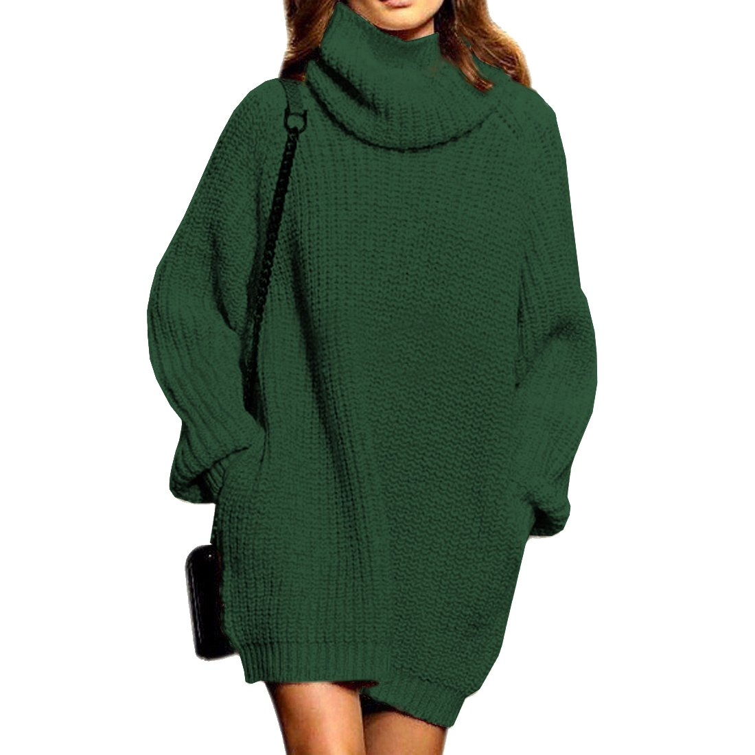 Women's Cashmere Knit Loose Turtleneck/Cowlneck Long Sweater Dress Pullover