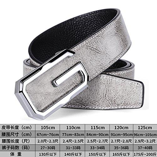 LLZZPPD Cinturón/Cinturones/Carta Masculina Hebilla Lisa Cinturón Juvenil Gris Blanco/Boda/Cumpleaños/Regalo/Pareja/Día De San Valentín/Decoración, Gris + Y, 120 Cm