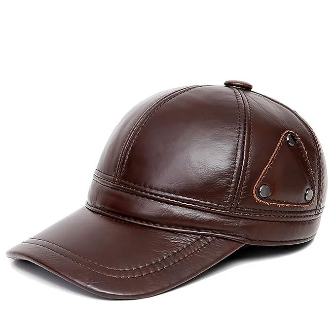 Gorra de béisbol Hombre Otoño Invierno Orejeras Calientes Gorra de Cuero Visera Exterior Sombrero Negro,