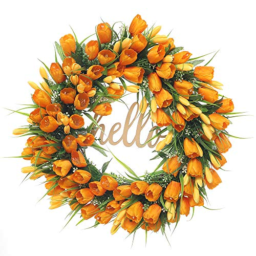 FAVOWREATH 2019 Vitality Series FAVO-W167 Handmade 19 inch Hello Letter,Orange Tulip,Multi Flowers,Berry,Leaf Grapevine Wreath Summer/Fall Front Door/Wall/Fireplace Floral Hanger Home Every Day - Wreath Berry Very