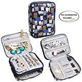 Teamoy Double Layer Jewelry Organizer Case, Travel Carry Bag for Earrings, Rings, Necklaces, Chains, Compact and All in One Place, Easy to Carry, Cats Blue