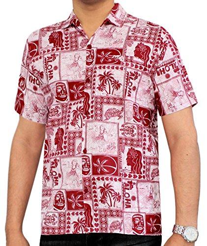 LA LEELA Cotton Batik Button Up Shirt Red 529 Large   Chest 44
