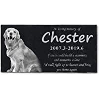 HMGYGS Pet Memorial Stone, Costom Pet's Photo, Name, Date, Missed Words, Pet Grave Marker,…
