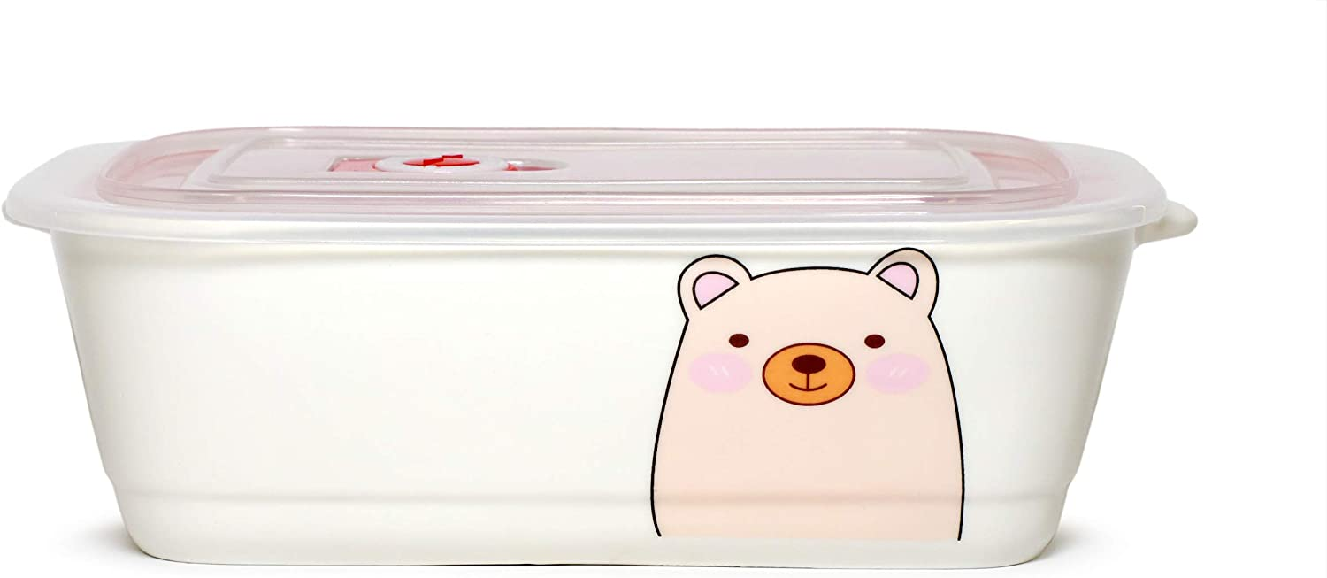 Microwavable Ceramic Bento Box Lunch Box Food Container With Seal Fine Porcelain Rectangular Shape With Dividers (PinkBear)
