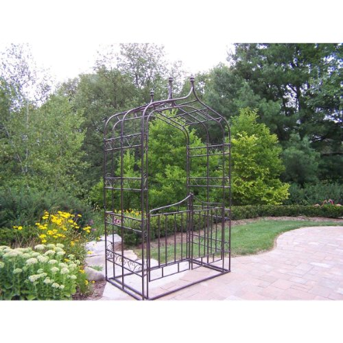 Oakland Living Gothic Arbor with Gate, Hammer Tone Brown