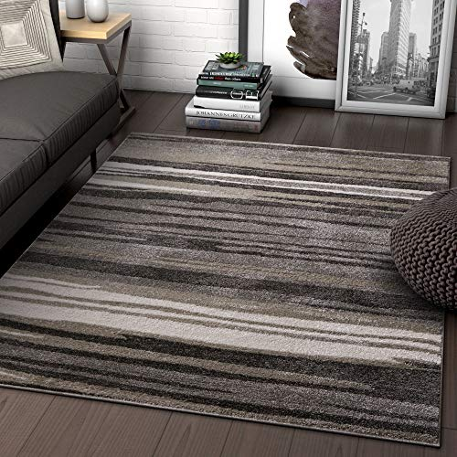 Well Woven Rocoso Stripes Grey Geometric Modern Abstract Lines Accent Area Rug 4x5 (3'11
