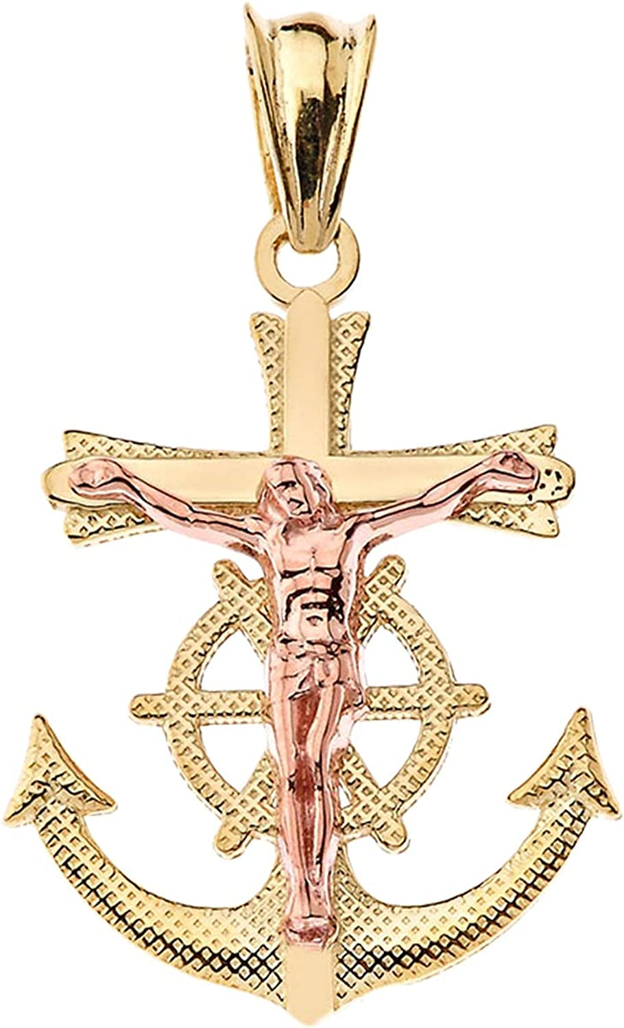 LA BLINGZ 14K Two-Tone Yellow and Rose Gold Mariner Crucifix Cross Charm Necklace