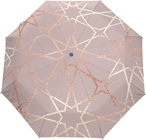 Marble Rose Gold fashion print cute Windproof automatic tri-fold umbrella sun UV protection Sun umbrella