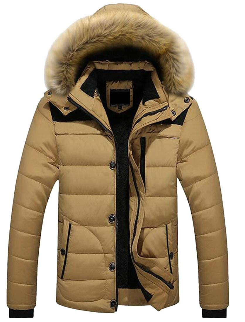 Cromoncent Mens Padded Quilted Hooded Fleece Pocket Casual Jacket Anoraks Parka Coat