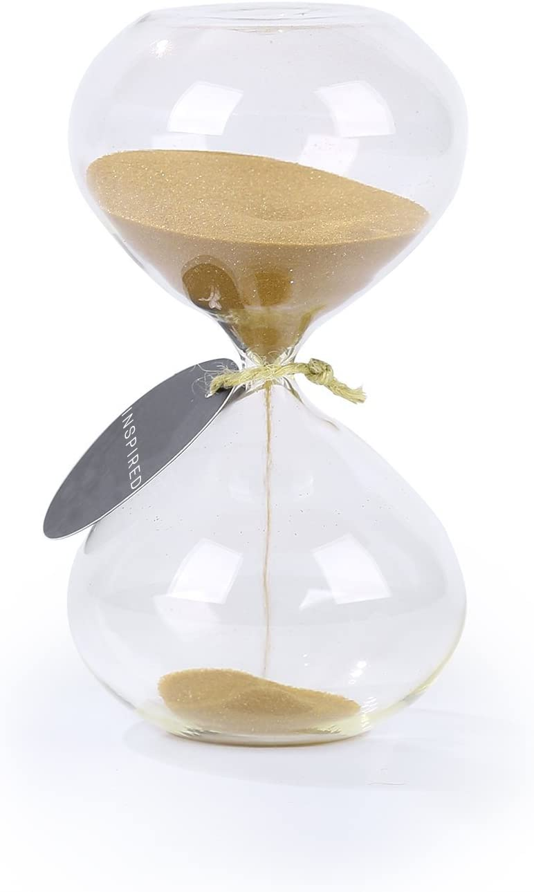 SWISSELITE BILOBA Puff Sand Timer/Hourglass (6.3 Inch,60 Minutes(+/- 360 Seconds), Gold)