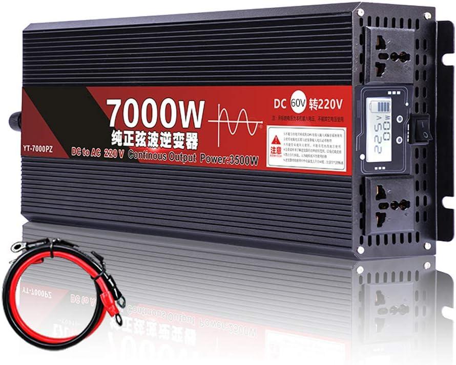 90GJ Pure SINE Wave Inverter-High Power Sine Wave 60v-220v Pure Sine Wave Converter,3500W / 7000W(Peak), Suitable for Camping, Travel and Car/Ship