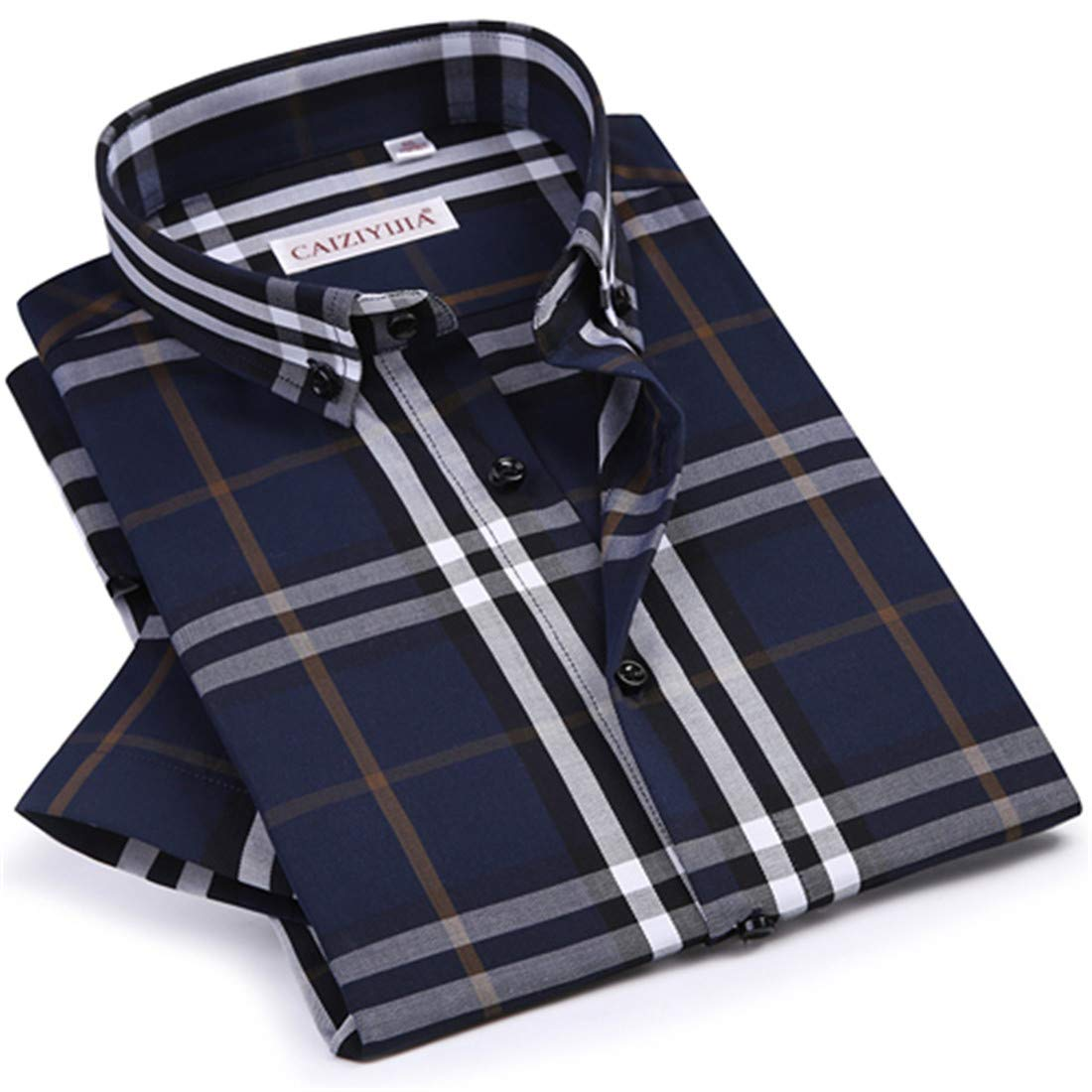Mens Casual Checkered Plaid Dress Shirt Worn in Comfortable Stylish