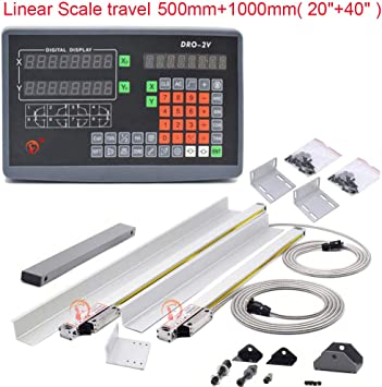 2Axis Digital Readout DRO Display 2pc TTL Linear Scale CNC Milling Lathe Kit
