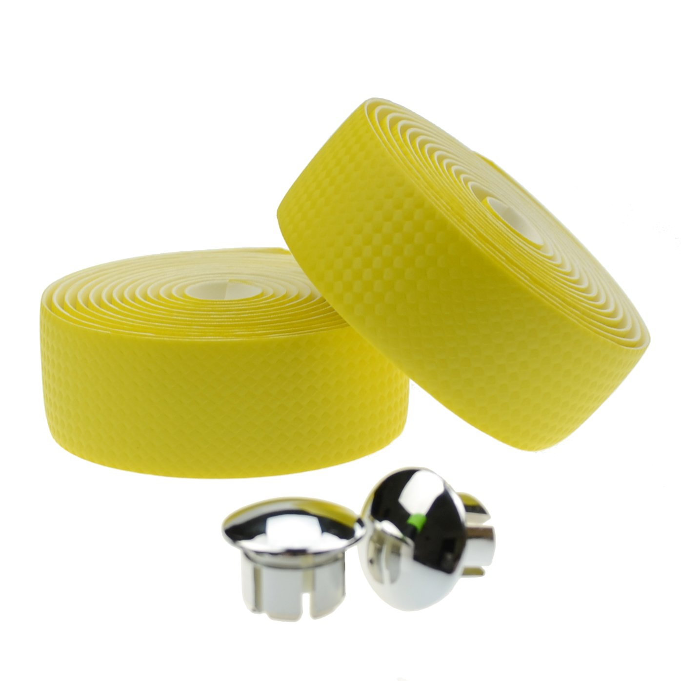 KINGOU Yellow Carbon Fiber PU Leather Road Bike Handlebar Tape Bar Tapes - 2PCS Per Set by KINGOU