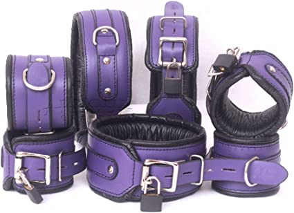 Padded Leather thigh to wrist cuffs restraint set w//connectors