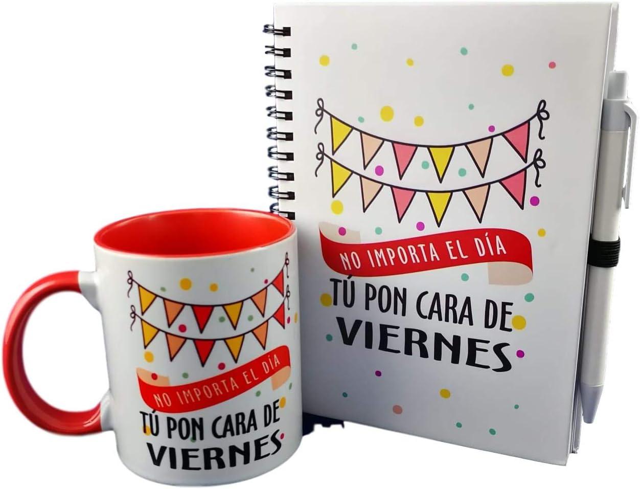 MISORPRESA Pack Taza Y LIBRETA Frase: NO Importa EL Dia TU PON Cara DE Viernes: Amazon.es: Hogar