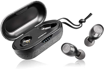 LYPERTEK TEVI - True Wireless Earbuds, Bluetooth 5.0 Stereo Hi-Fi Sound Wireless Earphones, IPX7 Waterproof, Upto 70 Hours Playtime, in-Ear Bluetooth Earphones with Charging Case (Black)