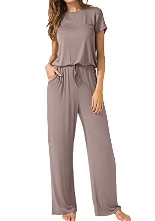 537754d11 Amazon.com: LAINAB Womens Summer Casual Loose Fit Wide Leg Jumpsuits with  Pockets Khaki L: Clothing
