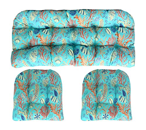 Piece Settee 2 (RSH Decor Indoor Outdoor 3 Piece Wicker Tufted Cushion Piece Set ~ Blue, Peach, White, Cream, Orange, Coral, Red ~ Ocean Life ~ Coastal ~ Coral Reef)