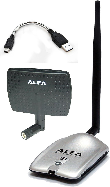Alta potencia ALFA AWUS036H 1000 MW, 1 W, 802.11b/g Adaptador de red WiFi USB inalámbrico de alta ganancia largo con 5dBi antena de goma y un 7dBi ...