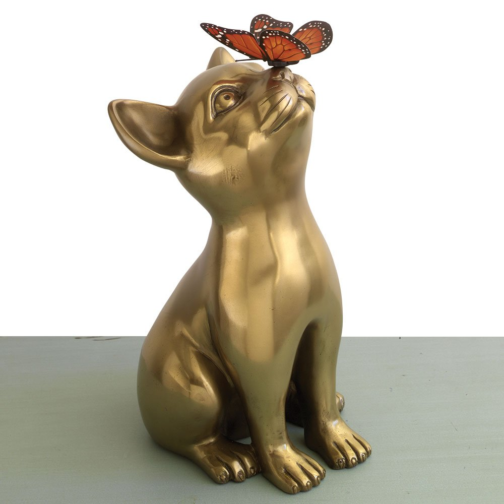 Bits and Pieces - Bronze Kitten & Butterfly Sculpture - Life-sized Cat Statue - Home and Office Décor