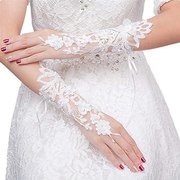 Guantes nupcial color marfil con estampado de flores - Guantes con encajes para fiesta de boda.