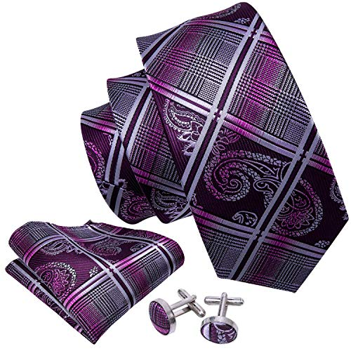Black / Paisley Purple - Barry.Wang Mens Tie Set Paisley Check Tie Hanky Cufflinks Silk Purple