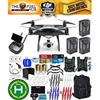 DJI Phantom 4 Pro+ Black Obsidian Edition Drone Pro Bundle With Black/Blue Backpack, Vest Strap, Extra Props, Filter Kit Plus Much More (3 Batteries)