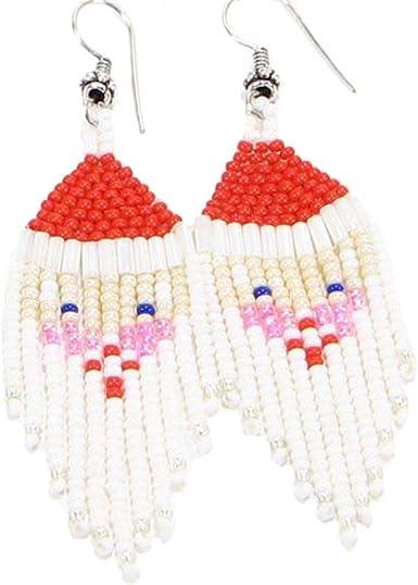 Amazon Com Handmade Fashion Jewelry Cute Christmas Santa Claus Beaded Seed Beads Earrings E 18 Sb 27 Clothing