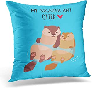 Emvency Throw Pillow Covers Case Animal Romantic Valentine's Day Cute Kawaii Characters Cartoon Style Funny Pun Quote Otter Couple Pillowcase Cushion Cover for Sofa Bedroom Car 16 x 16 Inches