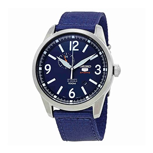 Reloj SEIKO 5 SSA301K1 Hombre Plateado Nailon Calendario: Amazon.es: Relojes