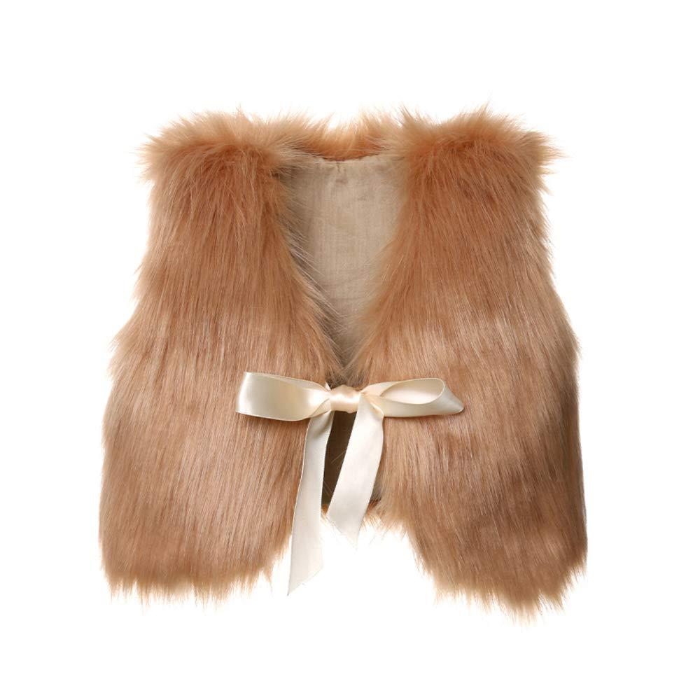 Pybcvrrd Kids Girls' Waistcoat Faux Fur Vest Coat Jacket Thick Warm Outerwear for 1-5T