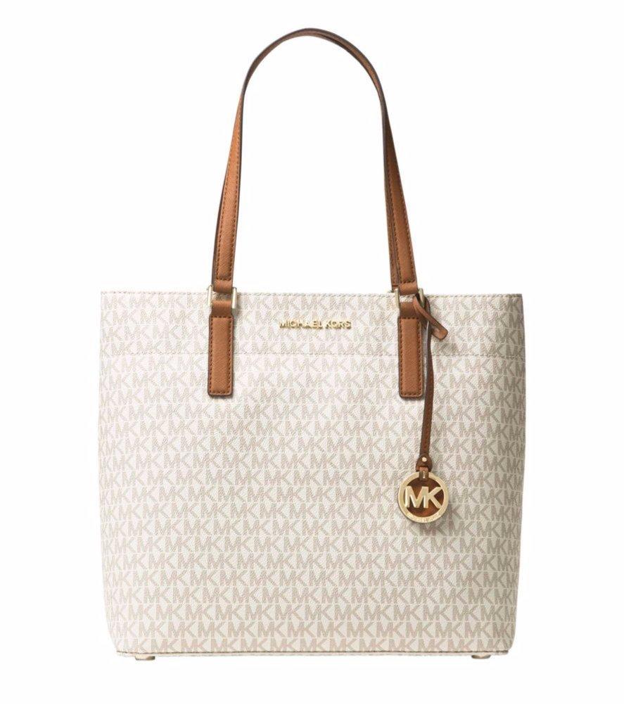 MICHAEL Michael Kors Womens Morgan Medium Tote Shoulder Handbag Signature Logo (Vanilla)