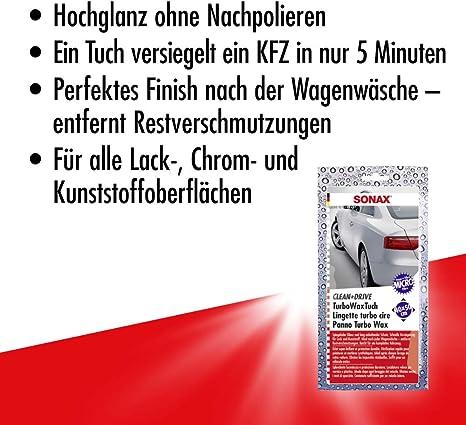 Sonax Clean Drive Turbowaxtuch 40x50 Thekendisplay 1 Stück Hochwertiges Microfasertuch Sorgt Für Hochglanz Ohne Nachpolieren Art Nr 04140000 Auto